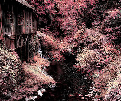 Photograph - Cedar Creek Grist Mill Soft Burgundy by Athena Mckinzie