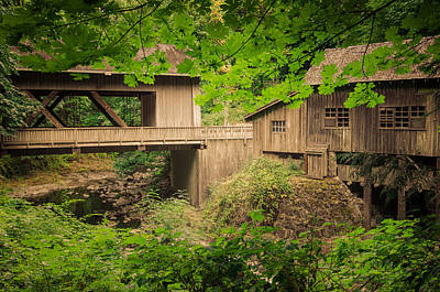 Photograph - Cedar Creek Mill And Covered Bridge by Don Schwartz