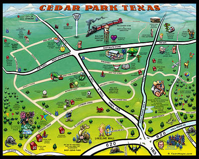 Cedar Park Texas Cartoon Map Art Print by Kevin Middleton
