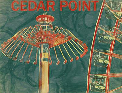 Roller Coaster Mixed Media - Cedar Point Art Poster by Dan Sproul