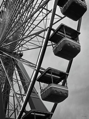 Photograph - Cedar Point - Giant Wheel Cabins Bw by Shawna Rowe