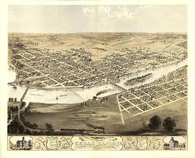 Cedar Rapids Iowa 1868 Art Print