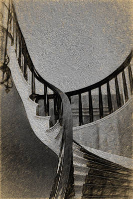 Digital Art - Cedar Street Stairs by John Haldane