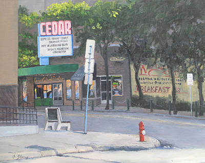 Accordian Painting - Cedar Theater by Holly Stone