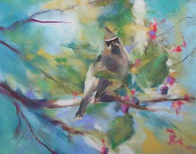 Cedar Waxing Painting - Cedar Wax Wing And Elderberries by Debbie Anderson