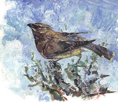 Painting - Cedar Waxwing by Abby McBride