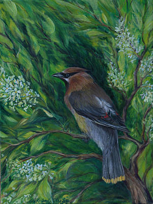 Painting - Cedar Waxwing In Lilac by Lisa Kimberly Glickman