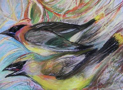 Cedar Waxwings Art Print by Emily Michaud