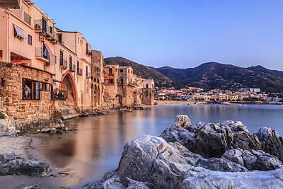 Cefalu Harbour, Sicily, Italy Art Print