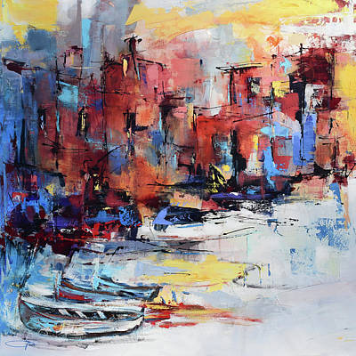 Port Town Painting - Cefalu Seaside by Elise Palmigiani