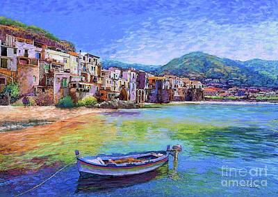 Boat Harbour Wall Art - Painting - Cefalu Sicily Italy by Jane Small