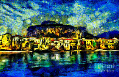 Cathedral Rock Painting - Cefalu Sicily Italy by Milan Karadzic