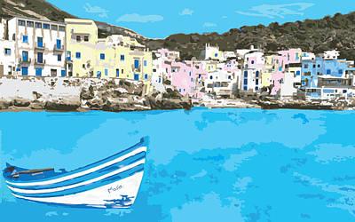 Digital Art - Cefalu Sicily Italy With Fishing Boat by Inge Lewis