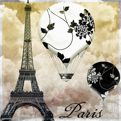 Paris Skyline Royalty-Free and Rights-Managed Images - Ceil Jaune II Vintage Hot Air Balloon by Mindy Sommers