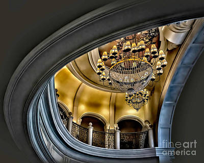 Photograph - Ceiling And Chandelier In Bellagio by Walt Foegelle