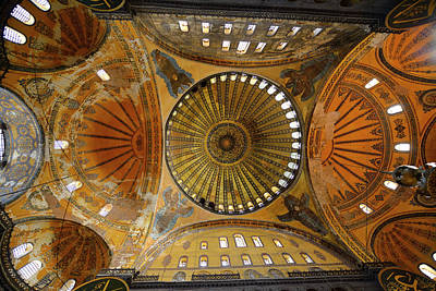 Hagia Sophia Photograph - Ceiling Domes And Frescoes With Six Winged Saraphim In The Hagia by Reimar Gaertner