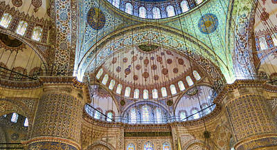 Medieval Temple Photograph - Ceiling Of Blue Mosque by Phyllis Taylor