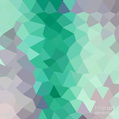 Celadon Green Abstract Low Polygon Background Art Print by Aloysius Patrimonio