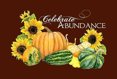 Sunflower Painting - Celebrate Abundance - Harvest Fall Pumpkins Squash N Sunflowers by Audrey Jeanne Roberts