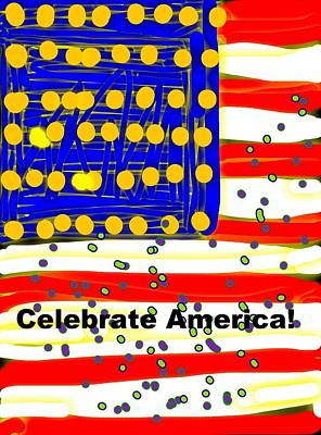 July Fourth Drawing - Celebrate America Flag by Kathy Barney