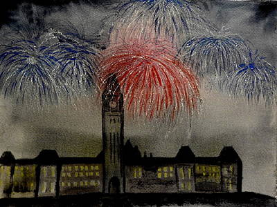 Fireworks Display Painting - Celebrate by Betty-Anne McDonald