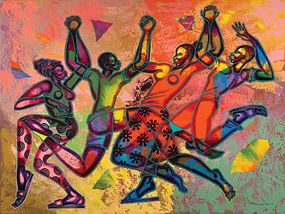 African Painting - Celebrate Freedom by Larry Poncho Brown