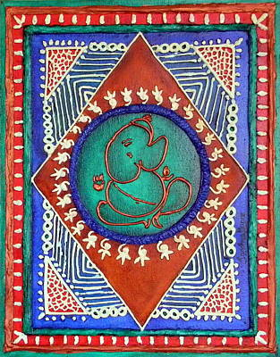 Embossed Copper Painting - Celebrating Ganesha by Sandhya Manne