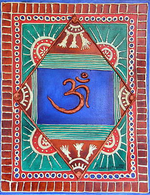 Embossed Copper Painting - Celebrating Om by Sandhya Manne