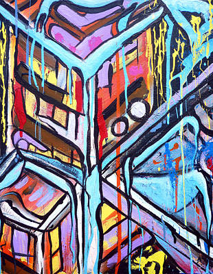 Free Form Painting - Celebrating The Future - Left by Larry Calabrese