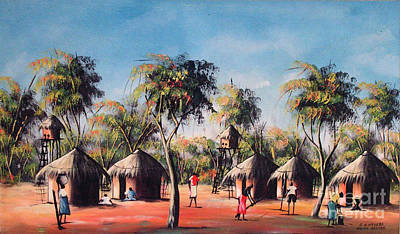 African Village Scene Painting - Celebration After Fishing by Mount painter-Chrisfold Chayera