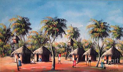 Malawi Painting - Celebration After Fishing by Mount painter-Chrisfold Chayera