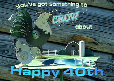 40th Anniversary Digital Art - Celebration Card  by Kae Cheatham