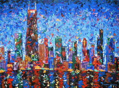 Chicago At Night Painting - Celebration City by J Loren Reedy