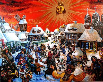 Roussimoff Wall Art - Painting - Celebration Of Snow by Ari Roussimoff