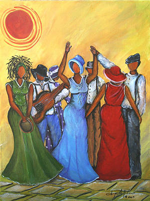 Gullah Painting - Celebration by Sonja Griffin Evans