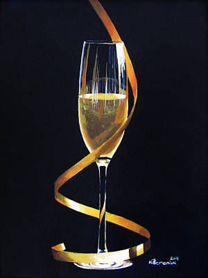 Champagne Glasses Painting - Celebrations by Kayleigh Semeniuk
