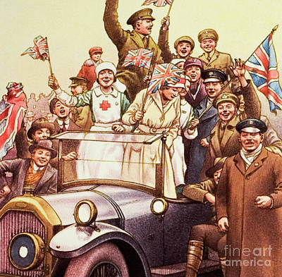 Crowds Painting - Celebrations Post World War I by Pat Nicolle