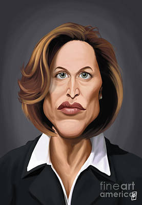 X-files Digital Art - Celebrity Sunday - Gillian Anderson by Rob Snow