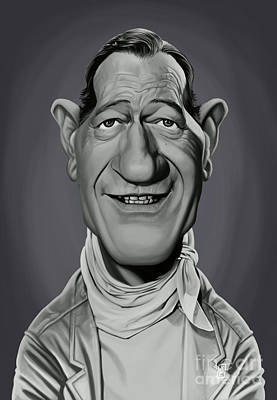 Art Print featuring the digital art Celebrity Sunday - John Wayne by Rob Snow