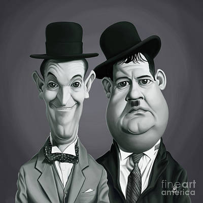Digital Art - Celebrity Sunday - Laurel And Hardy by Rob Snow