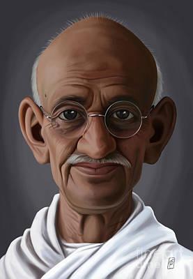 Digital Art - Celebrity Sunday - Mahatma Gandhi by Rob Snow