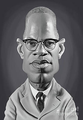 Digital Art - Celebrity Sunday - Malcolm X by Rob Snow