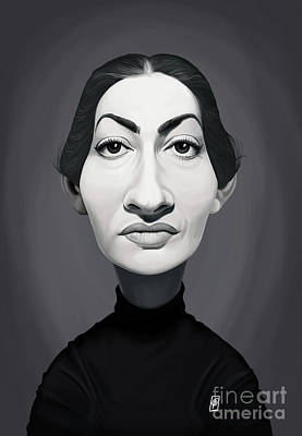 Art Print featuring the digital art Celebrity Sunday - Maria Callas by Rob Snow