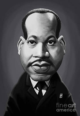 Art Print featuring the digital art Celebrity Sunday - Martin Luther King by Rob Snow