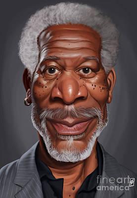 Digital Art - Celebrity Sunday - Morgan Freeman by Rob Snow