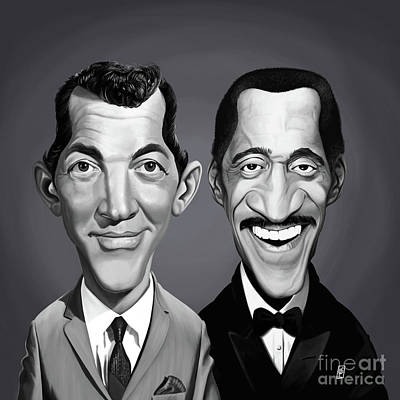 Art Print featuring the digital art Celebrity Sunday - Sammy Davis Jnr And Dean Martin by Rob Snow
