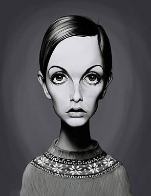Twiggy Digital Art - Celebrity Sunday - Twiggy by Rob Snow