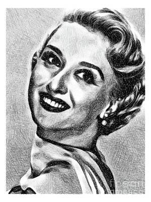 Musicians Drawings - Celeste Holm, Vintage Actress by JS by Esoterica Art Agency