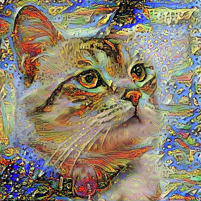 Digital Art - Celeste The Star Gazing Cat by Peggy Collins