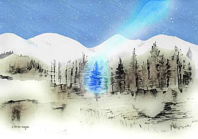 Snowy Trees Mixed Media - Celestial Beam by Arline Wagner